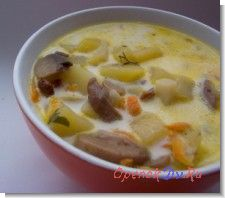 Суп из свежих грибов с картофелем