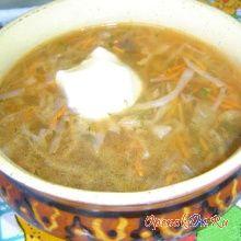 Картофельный суп с солеными грибами