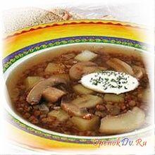 Суп из свежих опят с гречкой